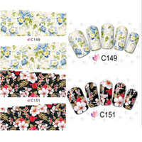 Wholesale Nail Art Wraps Water Transfers - 50 Sheets Flower Design Watermark Beauty Nail Art Tips Sticker Full Wraps Water Transfer Stickers Decals For Nails