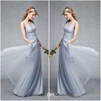 Wholesale Monique Lhuillier Yellow - Dusty Blue Bridesmaid Dresses V_neck Pleat Bodice Romantic Tulle Skirt Party Dresses 2017 Monique Lhuillier Formal Prom Dresses