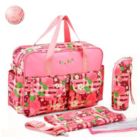 Wholesale Nappies Patterned - Wholesale-Brand New large Capacity Mummy Mags Hot Sale Reer Car oon Pattern Multi Function Baby Diaper Bags Tote Organizer Nappy Bolsas