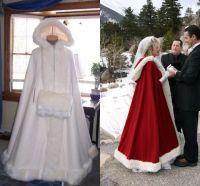 Wholesale Winter Wedding Coat Hood - 2017 Bridal Cape With Hood Wedding Cloaks with Faux Fur Trim For Winter Long Wraps Jacket Cheap Custom Red White Bridal Fur Coat Women