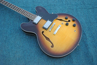 Wholesale Electric Guitar Honeyburst - Hot selling music instrumentguitar, honeyburst color,semi-hollow body jumbo jazz 335 electric guitars ,factory OEM handmade guitar