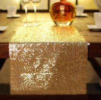 Wholesale Table Runner Crochet Wholesale - 100pcs30*275cm Fabric Table Runner Gold Silver Sequin Table Cloth Sparkly Bling for Wedding Party Decoration Products Supplies
