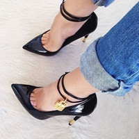Wholesale Chain Ankle Strap High Heel - Sexy Pointed Toe Gold Padlock Chain Ankle Strap Ladies High Heels Snakeskin Ladies Dress Shoes Women Patent Leather Pumps