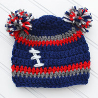 Knit Baby Football Pompom Beanie Handmade Crochet Baby Boy Girl Striped Football Team Beanie Hat Kids Winter Hat Infant Toddler Photo Prop