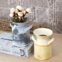 Wholesale Wholesale Rustic Handles - Retro Garden Pot With Two Handle Flowerpot Mini Country Rustic Primitive Jug Vase Can Container Wear Resisting Iron Flower Barrels 5 4tg AR