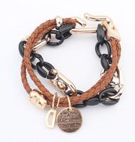 Wholesale letter d pendant online - Exotic Woman Leather Wrap Bracelets Black Coffee Royalblue Ginger Chains Leather Multi Bracelets D Letter Tag Pendant Charm Bracelets