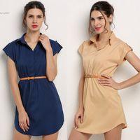 Wholesale Mini Chiffon Shirt - Spring Summer plus size homecoming dresses for womens clothing Chiffon Casual Mini Shirt Dress With Belt New Fashion Cap Sleeve Stretch hot