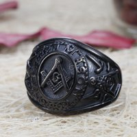 Mens Black Plated Stainless Steel Mason Masonic Freemason Ring Band Todos os tamanhos