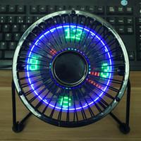 lüfter ansehen großhandel-Neue mode weihnachten geburtstagsgeschenk Flod fan fan USB mit uhr temperatur usb-anschluss 5v ventilator fan