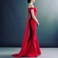 Wholesale Elegant Satin - 2017 Elegant Red Mermaid Evening Dresses Sweetheart Off Shoulder Satin Floor Length Simple Prom Dresses Formal Evening Gowns Watteau Train