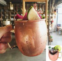 Wholesale Rose Mug - Copper Mug Stainless Steel Beer Cup Moscow Mule Mug Rose Gold Hammered Copper Plated Drinkware KKA1808