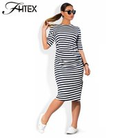 Wholesale Plus Summer Shift Dresses - Women Plus Size Shift Dress Fashion Elegant Brief Striped Half Sleeve Summer Casual Loose Party Dress 4XL 5XL 6XL 17409