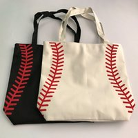 Wholesale Black Bag Yellow Handles - 2017new small canvas bag Baseball Tote Bags Sports Bags Casual Tote Softball Bag Football Soccer Basketball Bag Cotton Canvas Material