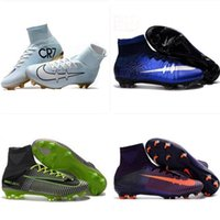 Wholesale Boys Denim Shoes - Kids Soccer Shoes Mercurial CR7 Superfly V FG Boys Football Boots Magista Obra 2 Women Youth Soccer Cleats Cristiano Ronaldo
