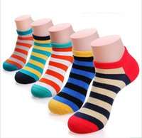 Wholesale Mens Fashion Socks Wholesale - 10 Pairs lot Fashion Mens Stripe Socks Lot Crew Ankle Low Cut Casual Cotton Socks