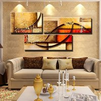 Wholesale Wall Paintings For Cheap - free shipping 3 Panel Canvas Art textured cheap Hand Painted Abstract Oil Painting yellow modular Wall Pictures For Living Room Unframed