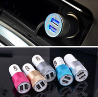 Barato Del Usb Y Baratos-Top Metal Dual 2 Port USB universal barato Car Charger Cable Adapter para el iphone HuaWei Samsung Galaxy S8 S8 más nota