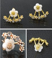 Fashion chrysanthemum studs Bijoux en cristal Rose Golden Flower earring stud pour les femmes girls party ear jewelry accessories