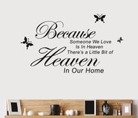 Wholesale Decorative Wall Wording - Free shipping Because Someone We Love Is In Heaven wall decal decorative removable vinyl Quote wall sticker