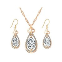 Wholesale Teardrop Costume Jewelry - 18K Gold Plated Clear Crystal Cluster Multicolor Stone Teardrop Dangle Earrings Chain Necklace Party Costume Jewelry Sets Gift