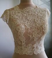 Wholesale shrugs resale online - High Quality Lace Wedding Shawls Short Sleeves Bridal Bolero Jewel Neck Custom Made Wedding Wraps Shrugs Buttons Back Stole