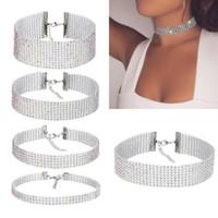 collar de gargantilla de diamantes de imitación al por mayor-Barato moda mujeres cristalino completo gargantillas collar para las mujeres joyería de plata color diamante collar llamativo