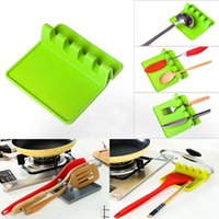 Wholesale Green Lids - Kitchen Utensil Rest Spoon Pot Pan Lid Pot Shovel Holder Food Grade Silicone Tools Shelf Gray and Green Free Shipping WX9-29