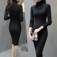 Wholesale Knitted Robes - Fashion 2016 Women Autumn Winter Sweater Dresse Slim Turtleneck Sexy Bodycon Solid Color Robe Long Knitted Dress