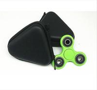 Wholesale color suit case resale online - Pocket Carrying triangle Case Earphone Headphone SD Card Fidget Hand Spinner Bag Holder Storage black color new