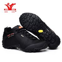 Wholesale Ski Climb - Man Waterproof Hiking Shoes for Men Athletic Trekking Boots Black Zapatillas Sports Climbing Shoe Breathable Outdoor Walking Sneakers 2017