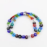 Wholesale 12mm Purple Eyes - All Size Evil Eye Beads Flat Round Mixed Color Glass Beads 6 8 10 12mm Multicoloured Ojo Evil Eye Colourful