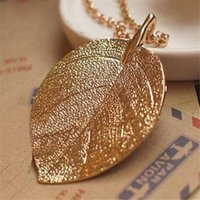 Déclaration Gold Long Chain Thick Leaf Pendant Alloy Designer Fashion Charm Long Collier Jewelry Fashion Styles DHL Free