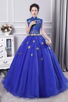 ingrosso abito di sfera vittoriano blu reale-100% reale royal blue flower stand colletto ricamo carnevale ball gown medievale abito abito rinascimentale regina cosplay vittoriano / Marie Belle