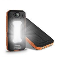 li polymer akku power bank großhandel-NEUE wasserdichte Solar Power Bank 20000mAh Dual USB Li-Polymer Solar Ladegerät Travel Powerbank für alle Handys