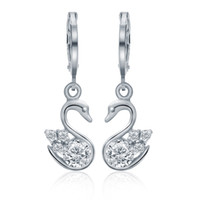 Wholesale 925 Swan Earring - Christmas Gifts Dangle Swan Earrings 925 Sterling Silver Yellow Gold Plated Natural Stone Cubic Zirconia Wedding Ear HEH1000118
