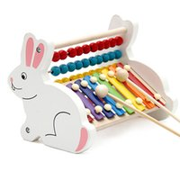 Wholesale Wooden Xylophone Baby - Wooden Cartoon Rabbit Calculation Abacus Frame Children Educational Toys Hand Knocked Piano Kids Baby Xylophone Musical Instrument Toys Gift
