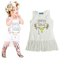 Wholesale Deer Dresses - girls tassel dress 2017 summer style cartoon deer baby gril dresses high quality cute letter sleeveless dress girl kids clothes