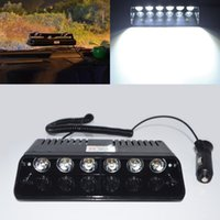 UNIVERSAL 6 WHITE LED FLASH OFFROAD STROBE LIGHT EMERGENCY GRILLE LAMP