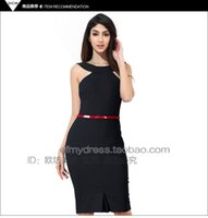 Wholesale New Release Dress - 2017 New Release Spring and Summer Sleeveless Bodycon One-piece Dress Slim Sexy Off-shoulder Knee-length Pencil Dresses