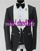 Wholesale Dark Green Suit Coat - Wholesale- Latest Coat Pant Designs 2017 Custom Made Fashionable Dot Pattern Men Party Tuxedo Slim Fit Suit Groom Wedding Suits For Men