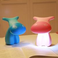 Wholesale Lovely Cartoon Desk Lamp - Wholesale- Lovely Cartoon Cow Desk Study Lamp Cute Rechargeable 0.8W 12 LED Tbale Light AC Charging for Children Student Learning Reading