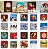Wholesale modern curtains designs - 30 design Christmas Shower Curtain Xmas Printed Bathroom Waterproof Shower Curtain Décor Santa Digital Printing Shower Curtains KKA2393