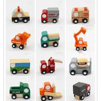 niños jugando coches al por mayor-12 unids / lote Mini coche de madera / avión Juguetes educativos de madera para niños con caja de regalo Regalo de cumpleaños para niños XT Soft Montessori