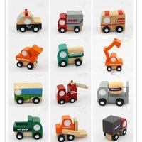 ingrosso scatole regalo per bambini-12pcs / lot Mini auto in legno / aeroplano Morbido Montessori giocattoli di legno per bambini con regalo regalo di compleanno per i ragazzi XT