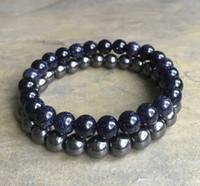 Wholesale Blue Elastic Bracelet - 8mm Blue Goldstone Bracelet ,8mm Hematite Bracelet,Gemstone Beads Bracelet Elastic Gemstone Bracelet,Gifts