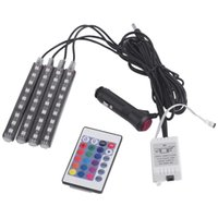 Wholesale Floor Lamp Remote Control - Car Interior Floor Decorative Atmosphere Strip Light Lamp With Remote Control 4pcs Bright LED RGB 5050 SMD Car Styling Hot