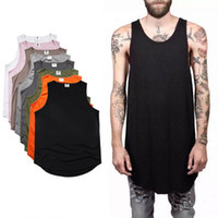 Wholesale Plain Men S T Shirt - 2017 Summer Men's Plain Long Tank Top Sleeveless Curved hem Cotton T-Shirt Summer Sport Basketball Tees Black White Longline Vest MJG0310