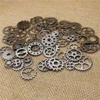 Wholesale Black Gun Metal Necklace - PULCHRITUDE Mix 100 pcs Vintage steampunk Charms Gear Pendant Gun black Fit Bracelets Necklace DIY Metal Jewelry Making T0579