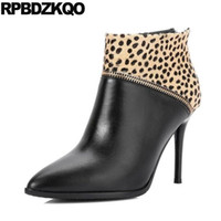 Leopard Print Autunno scarpe sottili scarpe donna Donne Luxury 2017 Horsehair Real Leather Pointed Toe Booties caviglia tacco alto Zipper Boots