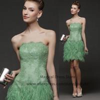 kurze kleidfedern grün großhandel-Sommer Vestidos De Noche Cortos Feder Kurze Abendkleider Spitze Liebsten Grün Appliques Couture Prom Kleider 2016 S028